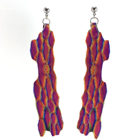 Pink and Purple Indented Earrings Large