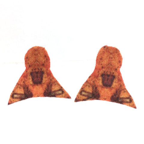 Orange Pointed Post Earrings