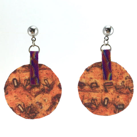 Orange Circle Earrings Small