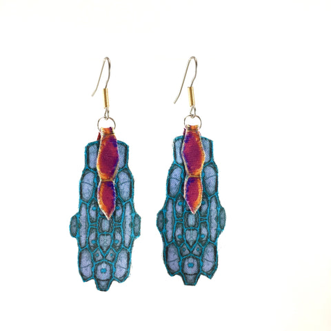 Blue Satin Earrings with Pink Detail