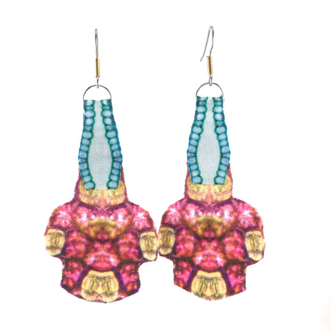 Pink White and Blue Fabric Statement Earrings