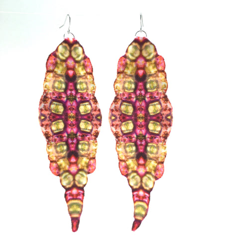 Pink Print Fabric Earrings with Stainless Steel Fishhooks