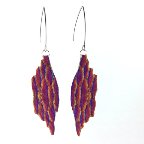 Rainbow Wing Earrings with Marquise Hook
