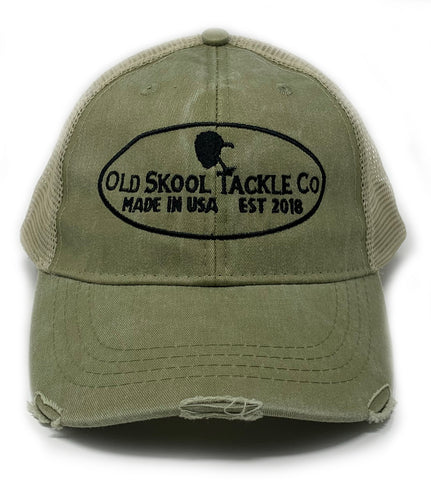 Old Skool Tackle Company's Olive Distressed Trucker Hat