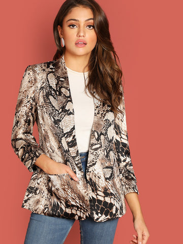 Shawl Collar Gathered Sleeve Snakeskin Blazer
