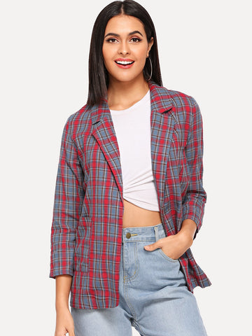 Notch Collar Pocket Front Plaid Blazer