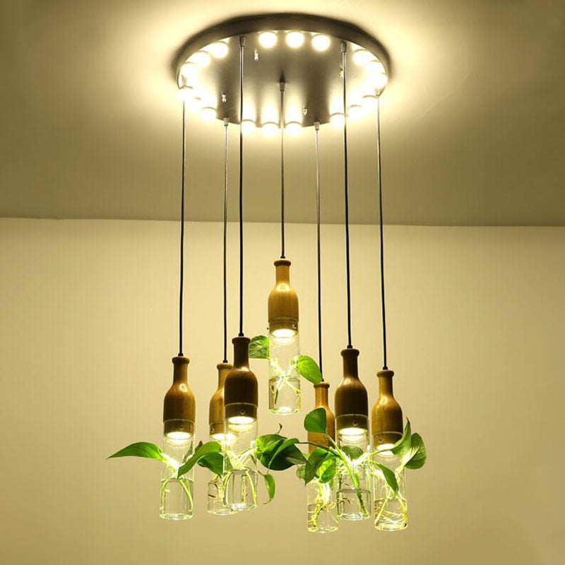 Modern Wooden Planter Lamp