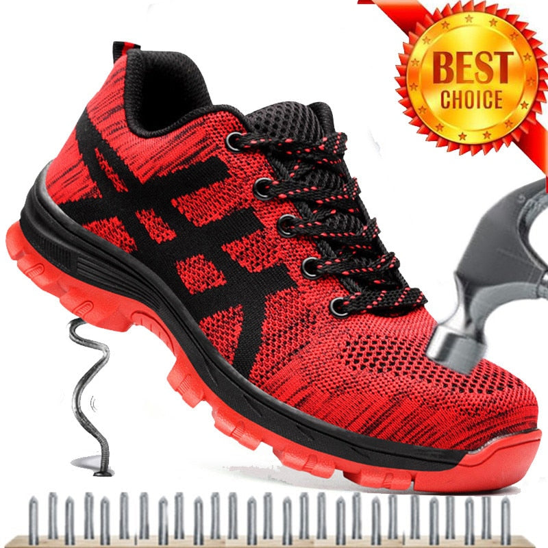 Work Boots Men Safety Shoes Unisex Air Mesh
