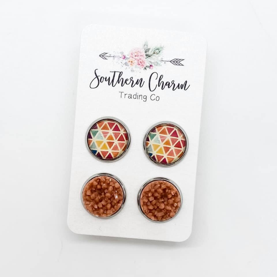 Autumn Triangles & Shimmer Stud Earring Duo