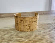 Load image into Gallery viewer, Cork and Gold Cuff Bracelet