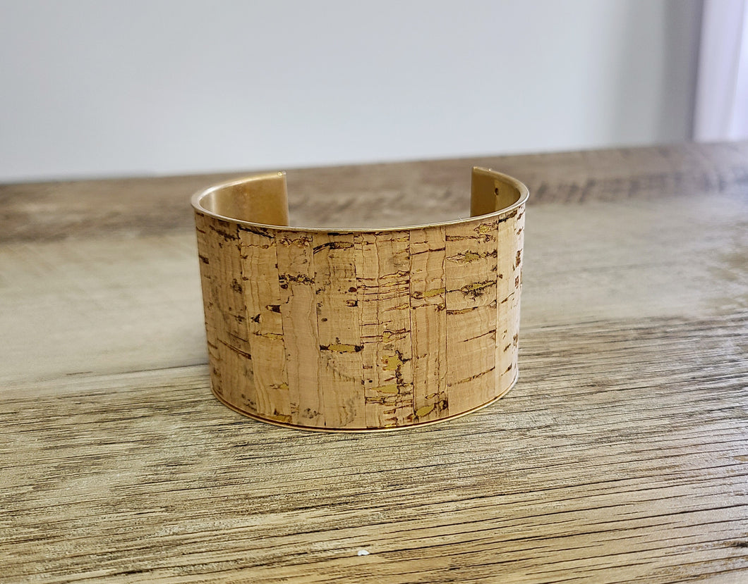 Cork and Gold Cuff Bracelet
