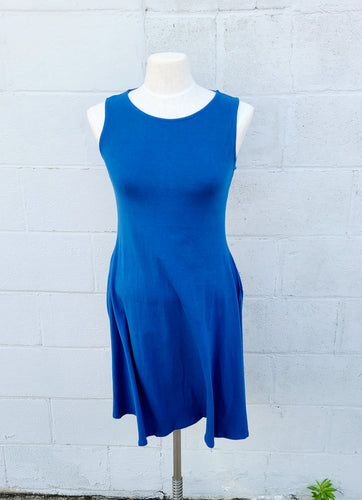 Royal Blue Sleeveless Dress with Pockets