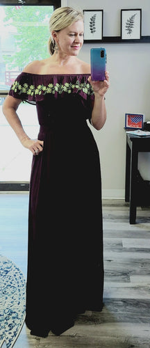 Off Shoulder Burgundy Maxi - 2 mediums left