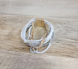 Andi Leather and Chains Wrap Bracelet