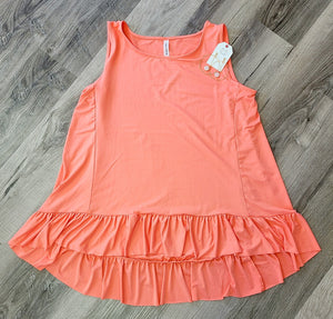 Coral Ruffle Top