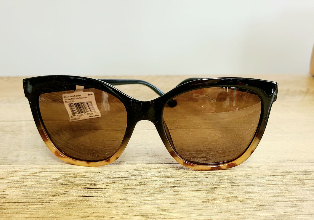 Deja Views - Glossy Black & Blonde Polarized Sunglasses