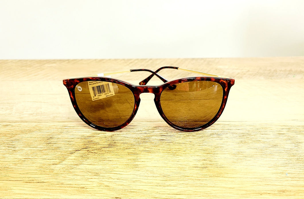 Mary Janes - Glossy Tortoise Shell & Amber Polarized Sunglasses