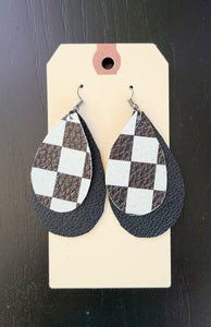 Checkered Flag Double Layer Black Earrings