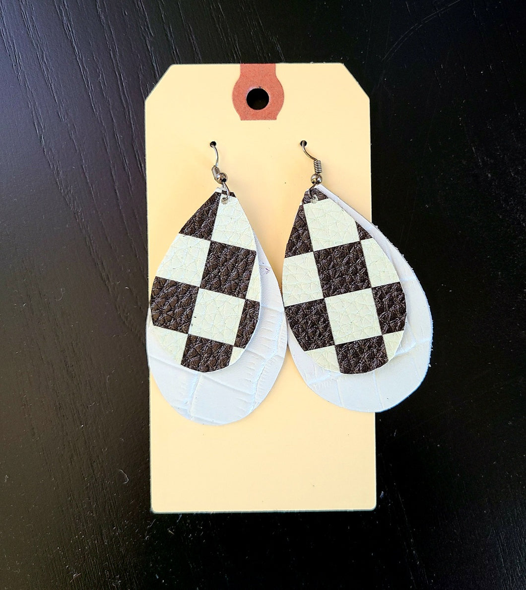 Checkered Flag Double Layer White Earrings