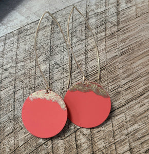 Orange & Gold Disc Earrings