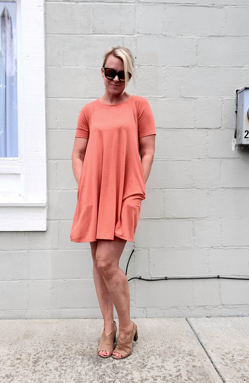 Husky Orange T-Shirt Dress with Pockets
