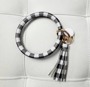Buffalo Plaid Wristlet Keychain