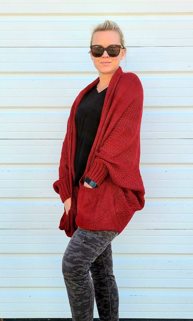 Red Cardigan with Pockets