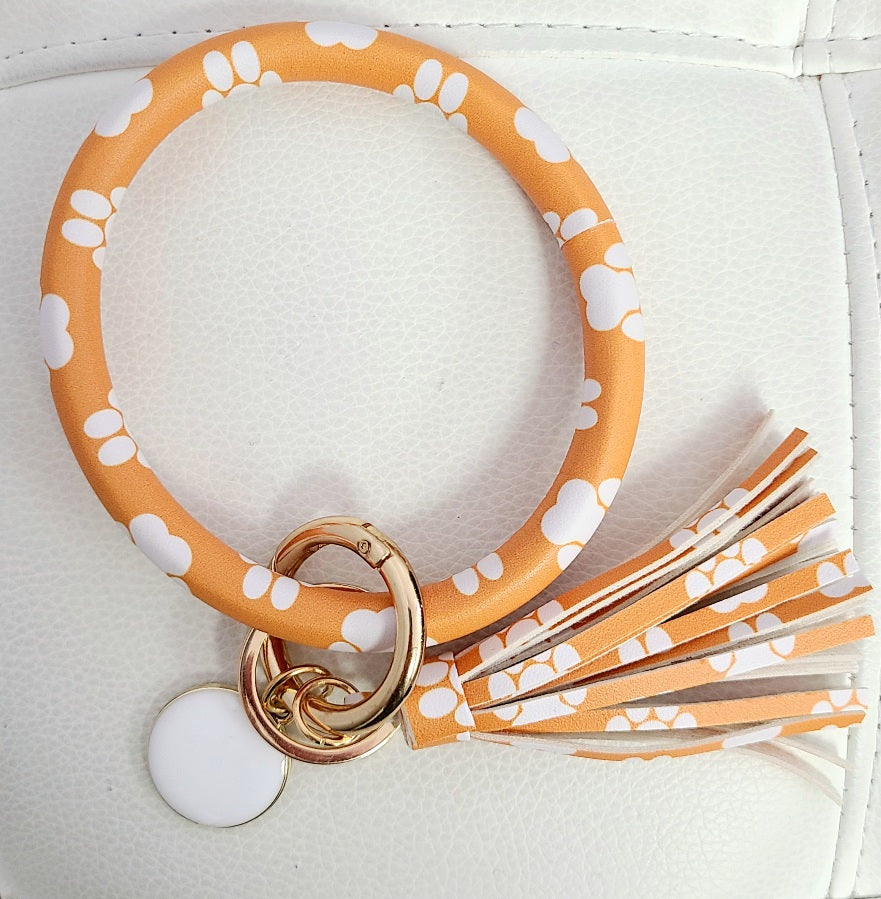 Orange & White Paw Keychain Black
