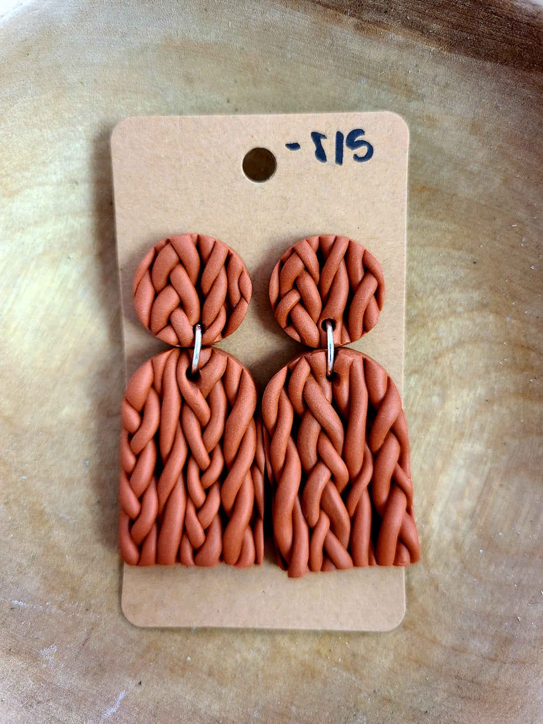 Braided Cinnamon Handmade Clay Earrings
