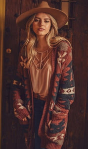 Aztec Oversized Cardigan - Brick