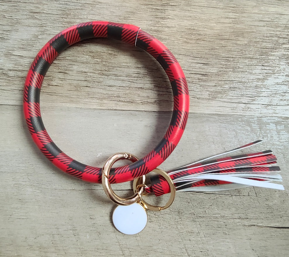 Red Buffalo Plaid Wristlet Keychain