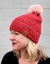 Load image into Gallery viewer, Red & Pink Pom Beanie