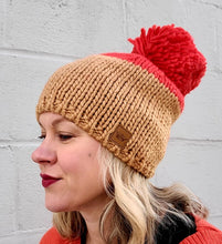 Load image into Gallery viewer, Tan & Orange Pom Beanie