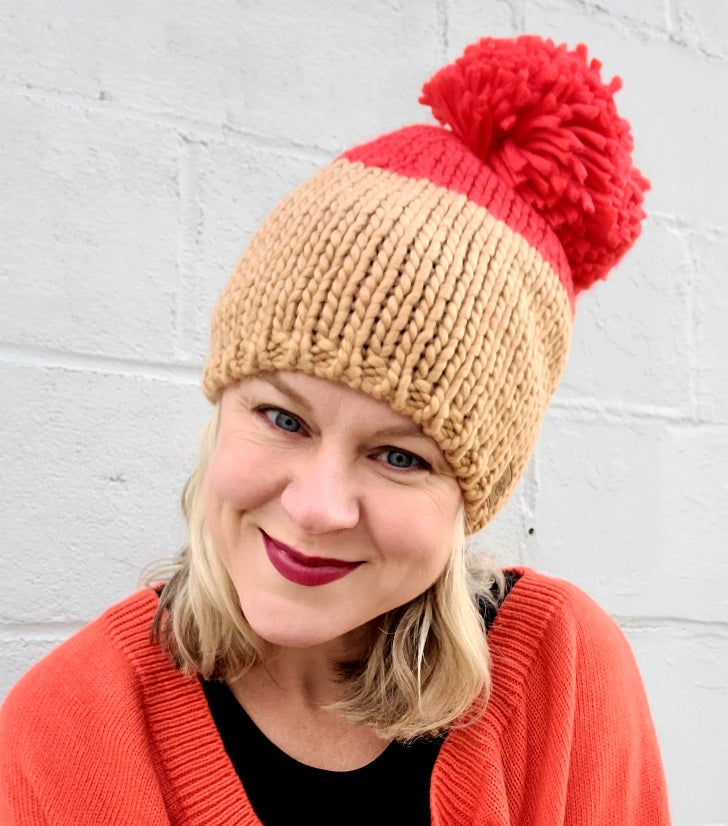 Tan & Orange Pom Beanie