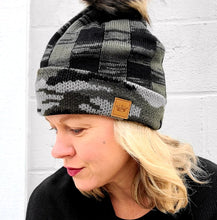 Load image into Gallery viewer, Camo & Green Plaid Beanie