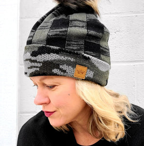 Camo & Green Plaid Beanie