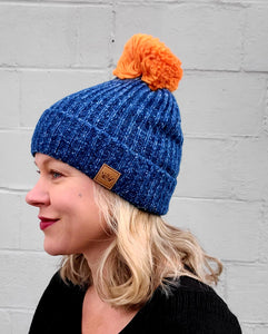 Blue & Orange Pom Beanie