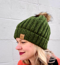 Load image into Gallery viewer, Green Knit Pom Beanie