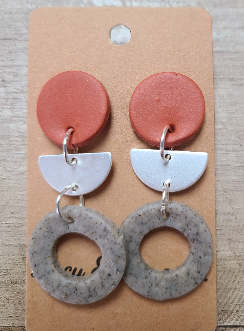 Grey, Metal, & Cinnamon Handmade Clay Earrings