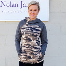 Load image into Gallery viewer, Camo & Grey Double Hoodie Side Zip Pullover