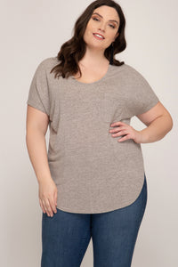 Short Sleeve Curvy Top - Oatmeal - Only 1 2X Left!