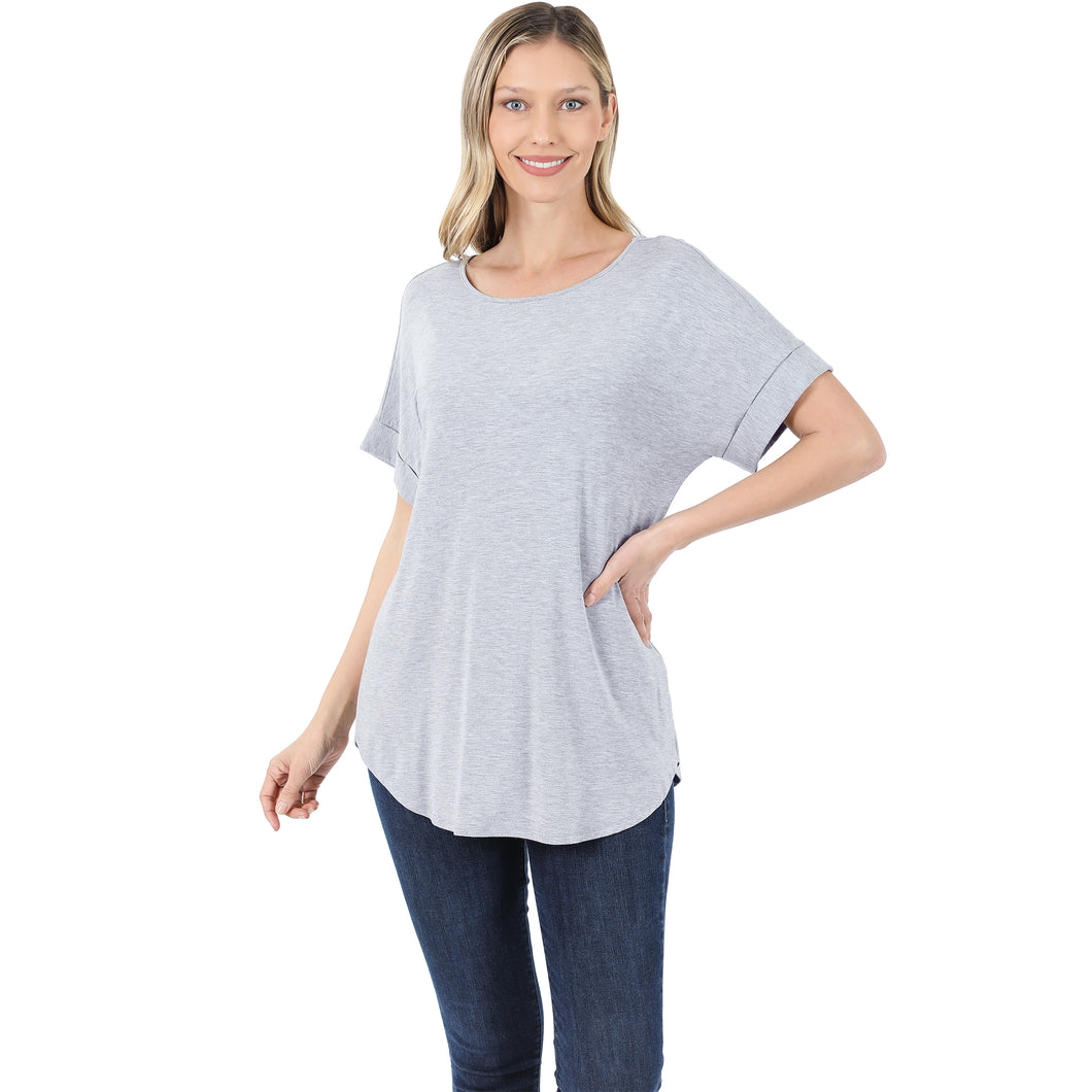 Heather Grey Rolled Short Sleeve Top