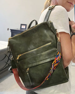 Green Backpack Vegan Leather Purse