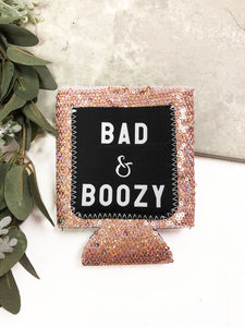 Bad & Boozy Rose Gold Sequins Can Cooler