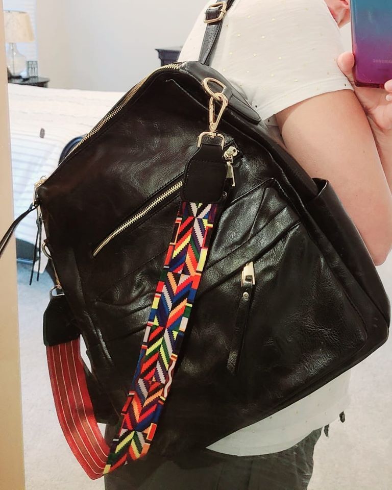 Black Backpack Vegan Leather Purse