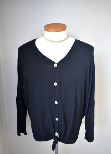 Tie and Button Front Plus Size Top - Black