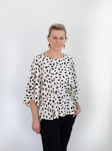 Leopard Ivory and Black Peplum Top