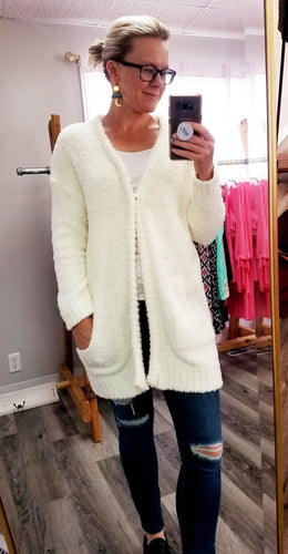 Cream Oversized Open-Front Cardigan