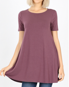 Eggplant T-Shirt Dress with Pockets