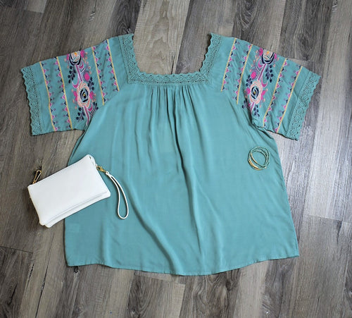 Short Sleeve Embroidered Curvy Top - Sage